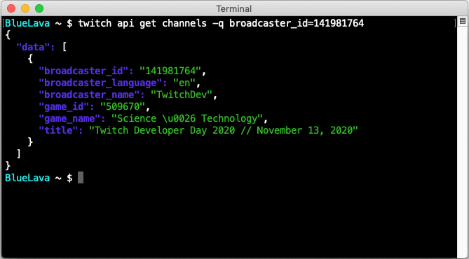 A Twitch CLI example demonstrating an API call to get the channel information for the TwitchDev channel.